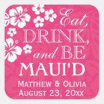El rosa come, bebida y sea pegatinas del boda de M