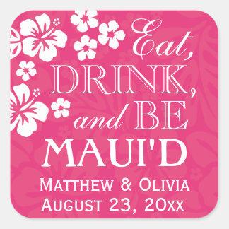 El rosa come, bebida y sea pegatinas del boda de pegatina cuadrada