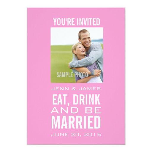 """El rosa come la bebida sea boda moderno casado de invitación 5"""" x 7"""""""