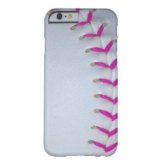 El rosa cose béisbol/softball funda de iPhone 6 barely there
