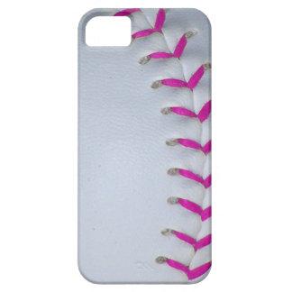 El rosa cose béisbol/softball funda para iPhone SE/5/5s