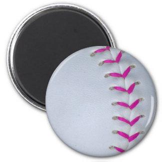 El rosa cose béisbol softball imán para frigorífico