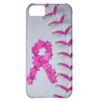 El rosa cose softball con la cinta de la flor carcasa iPhone 5C
