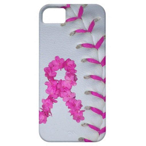 El rosa cose softball con la cinta de la flor iPhone 5 cobertura