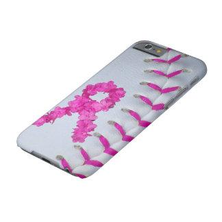 El rosa cose softball con la cinta de la flor funda barely there iPhone 6