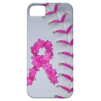 El rosa cose softball con la cinta de la flor funda para iPhone SE/5/5s