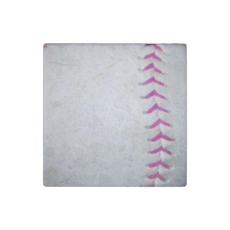 El rosa cose softball imán de piedra