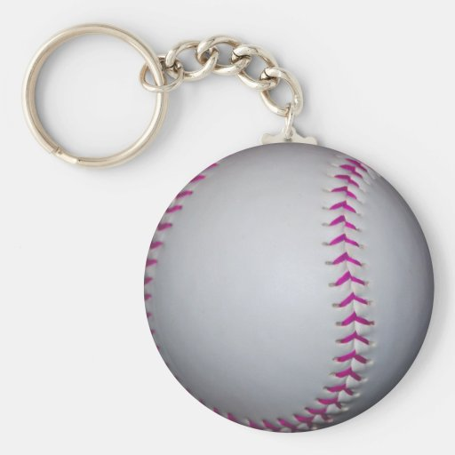El rosa cose softball llavero