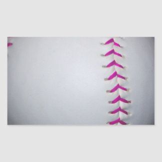El rosa cose softball pegatina rectangular