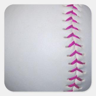 El rosa cose softball pegatina cuadrada