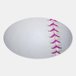 El rosa cose softball pegatina ovalada