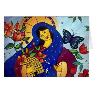 El rosa da a abejas la miel tarjeta de felicitación