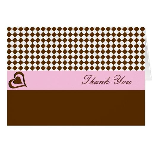 El rosa de Brown le agradece Tarjeta De Felicitación