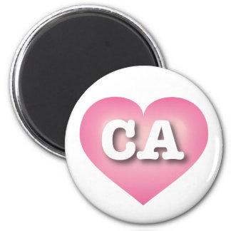 El rosa de California se descolora corazón - amor Imán Redondo 5 Cm