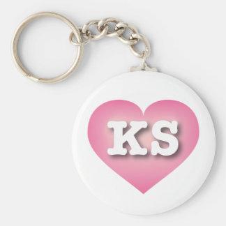 El rosa de Kansas KS se descolora corazón Llavero Redondo Tipo Chapa