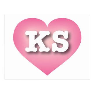 El rosa de Kansas KS se descolora corazón Postal