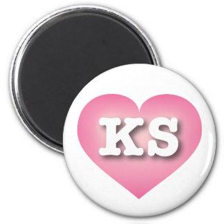 El rosa de Kansas se descolora corazón - amor Imán Redondo 5 Cm