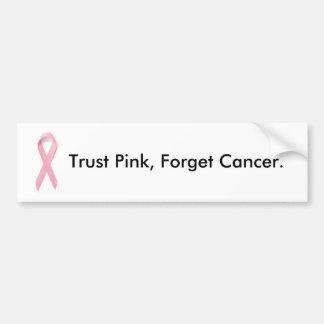 El rosa de la confianza, olvida al cáncer etiqueta de parachoque