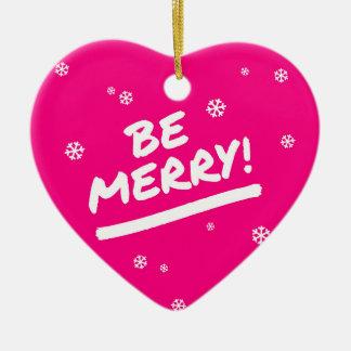 El rosa de la diversión sea felices copos de nieve adorno navideño de cerámica en forma de corazón