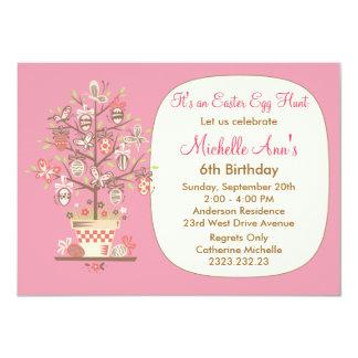 """El rosa de la fiesta de cumpleaños de la caza del invitación 4.5"""" x 6.25"""""""