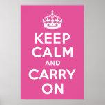 El rosa de la frambuesa guarda calma y continúa posters