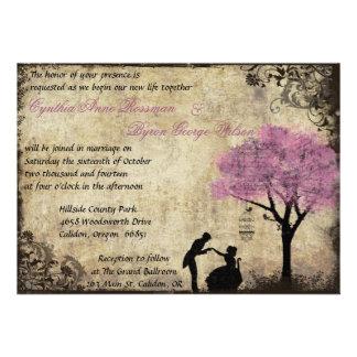 El rosa de la invitación del boda del vintage de l
