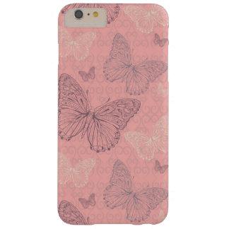 El rosa de la mariposa funda de iPhone 6 plus barely there