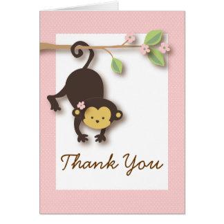 El rosa de la niña del mono de la MOD le agradece  Felicitacion