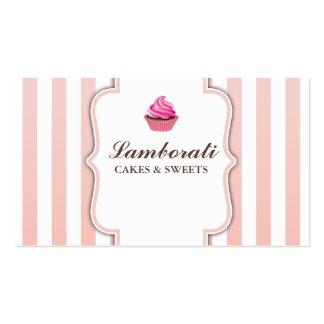 El rosa de la panadería de la magdalena raya tarjetas de visita
