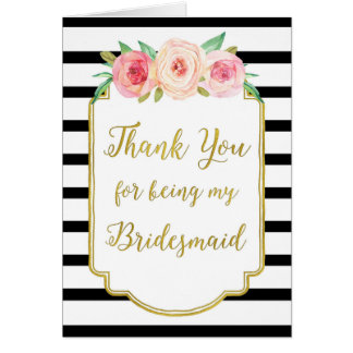 El rosa de la raya negra del oro floral le tarjeta de felicitación