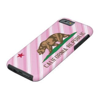 El rosa de la república de California raya la Funda Para iPhone 6 Tough