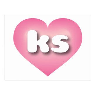 El rosa de los ks de Kansas se descolora corazón Postal