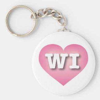 El rosa de los WI de Wisconsin se descolora Llavero Redondo Tipo Pin