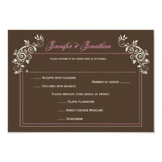 """El rosa de marfil de Brown del vintage #2 remolina Invitación 3.5"""" X 5"""""""