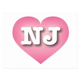 El rosa de New Jersey NJ se descolora corazón Tarjeta Postal