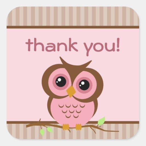 El rosa de Owly le agradece pegatina