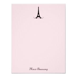 El rosa de París le agradece las tarjetas de nota Anuncios Personalizados