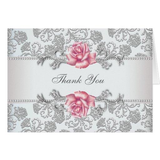 El rosa de plata del rosa del damasco le agradece tarjeta pequeña