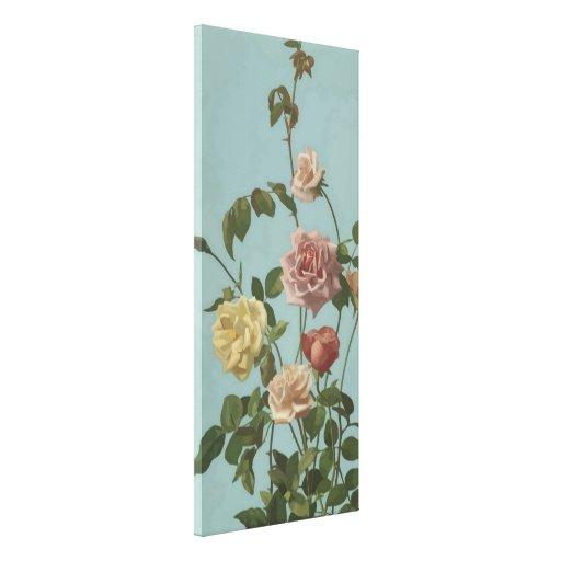 El rosa de té del vintage y se ruboriza los rosas lona estirada galerias
