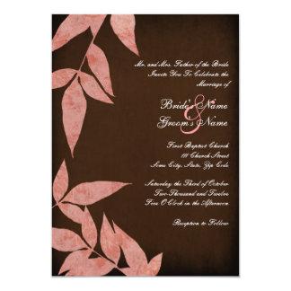 El rosa deja invitaciones del boda del vintage invitación 12,7 x 17,8 cm