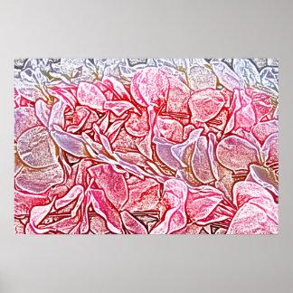 el rosa del bosquejo de los leus florece el fondo poster
