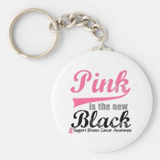 El rosa del cáncer de pecho es el nuevo negro llavero redondo tipo pin