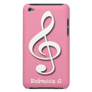 El rosa del Clef agudo personalizó la caja del tac iPod Touch Carcasas