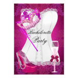 El rosa del corsé del fiesta de Bachelorette calza Comunicado Personalizado