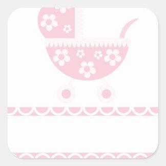El rosa del fiesta de fiesta de bienvenida al bebé pegatinas cuadradases