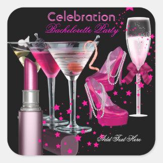 El rosa del lápiz labial del fiesta de pegatina cuadrada