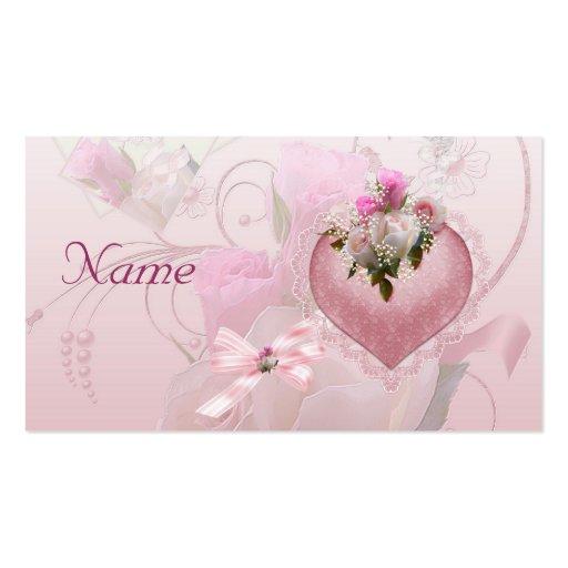 El rosa del nombre de tarjeta del lugar del boda f tarjetas de visita
