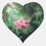 El rosa del verde del OSCILACIÓN Pegatinas De Corazon