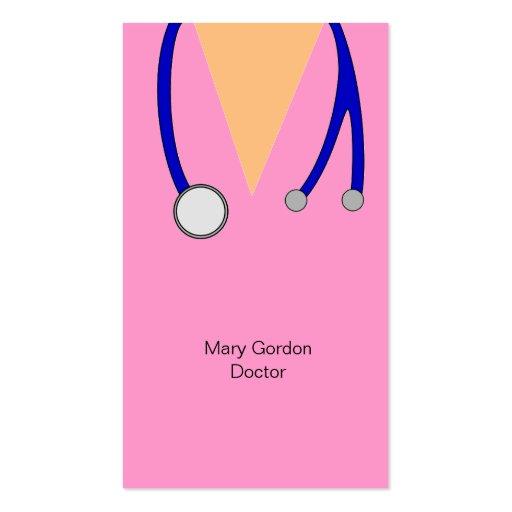 El rosa divertido friega y el médico del estetosco plantilla de tarjeta de negocio