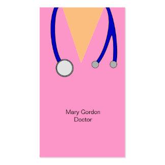 El rosa divertido friega y el médico del tarjetas de visita